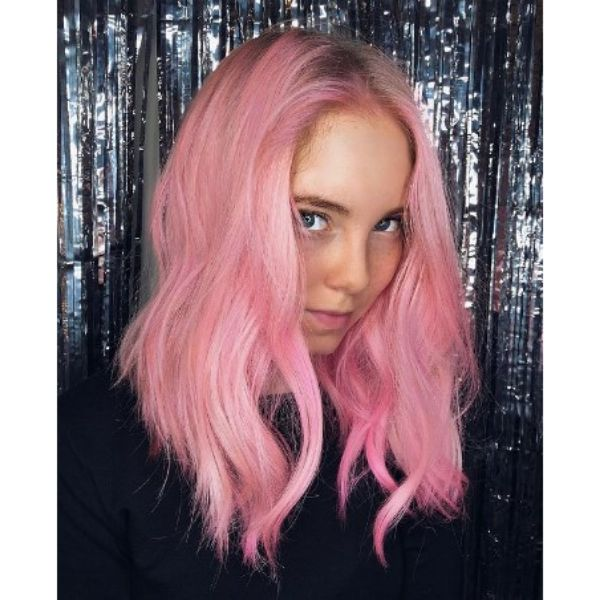 Cotton Pink Medium Haircuts For Wavy Hair With Middle Part
