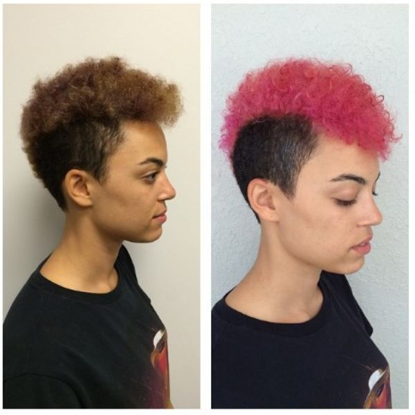 Cotton Pink Short Haircut For Curly Hair With Shaved Sides
