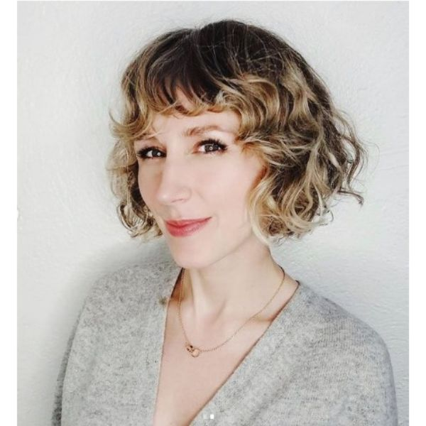Curly French Bob For Short Hair With Blonde Balayage