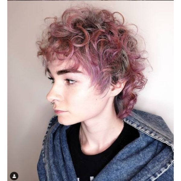 Curly Silver Pink Mullet Shag For Thin Hair