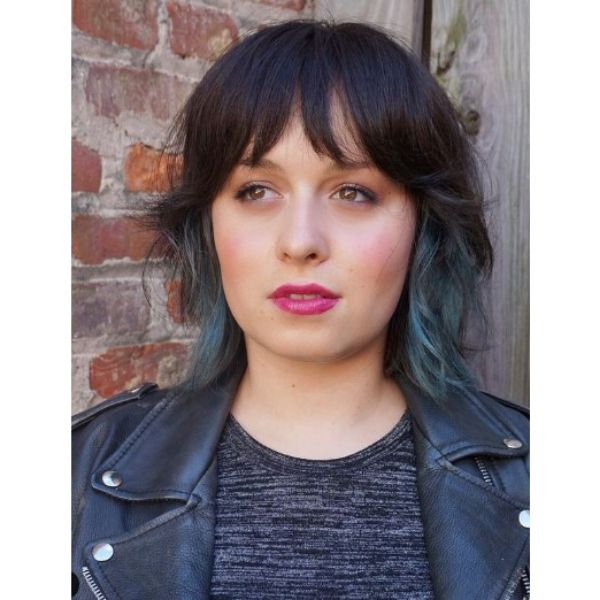 Dark Medium Haircuts For Wavy Hair with Blue Highlights