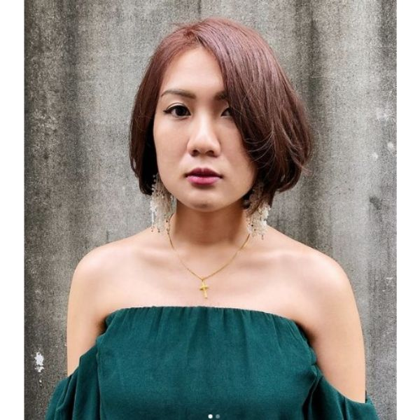 Dark Red Chin Length Bob With Deep Side Part