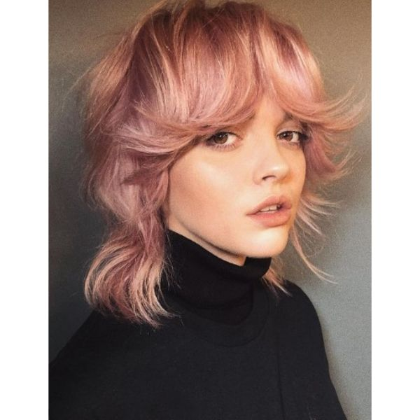 Dusty Rose Medium Haircuts For Wavy Hair With Full Bangs