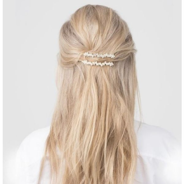 Elegant Half Updo For Thin Blonde Hair With Sparkling Hair Accessory