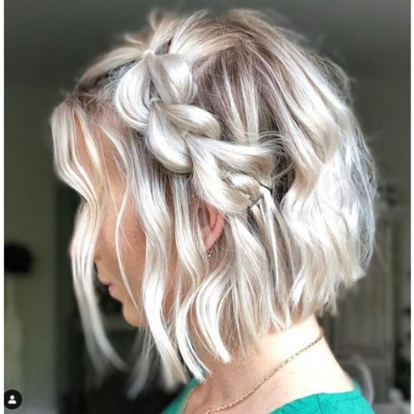 Faux Side Braid With Long Wavy Hair