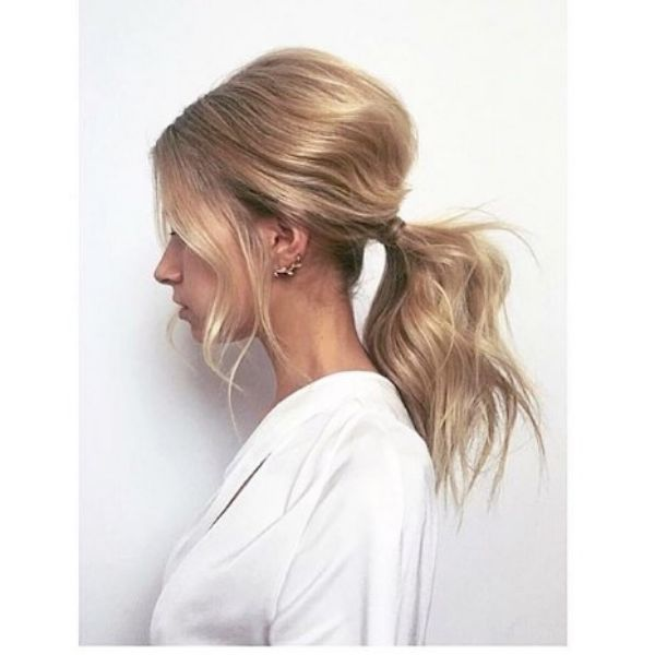 Futuristic Teased Ponytail For Thin Blonde Hair