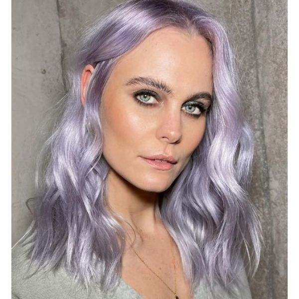Glossy Lilac Medium Haircuts For Wavy Hair With Middle Part