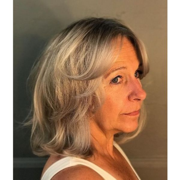 Gray Silver Medium Haircut With Curly Layers