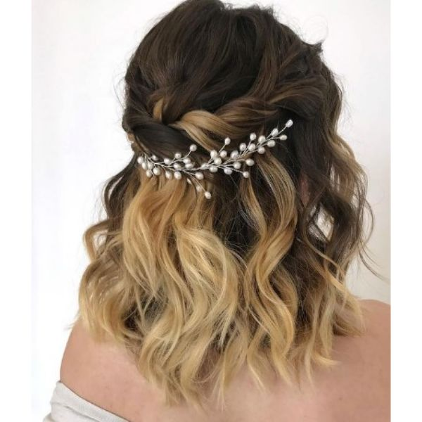Half Updo Wedding Hairstyles With Pearl Vine