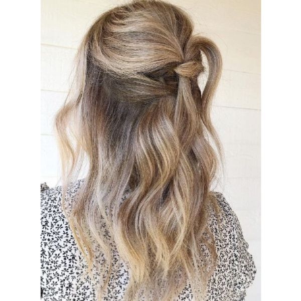 Half Updo With Knotted Strands For Blonde Hair