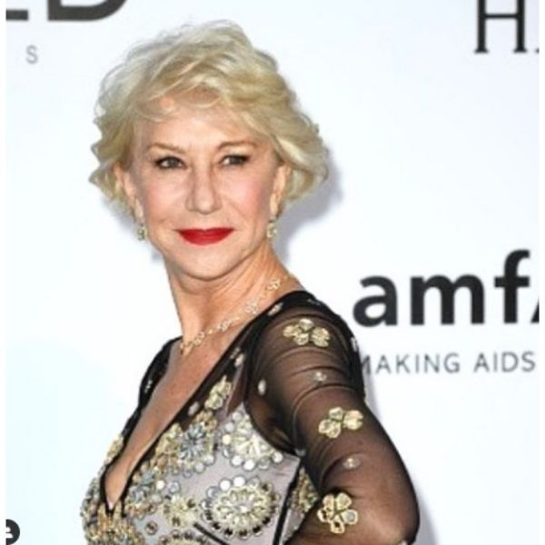 Helen Mirren's Short Feathered Hairstyle For Blonde Hair