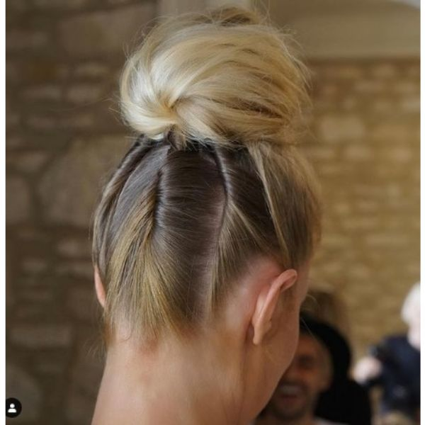 High Blonde Bun With Twisted Strands For Blonde Thin Hair