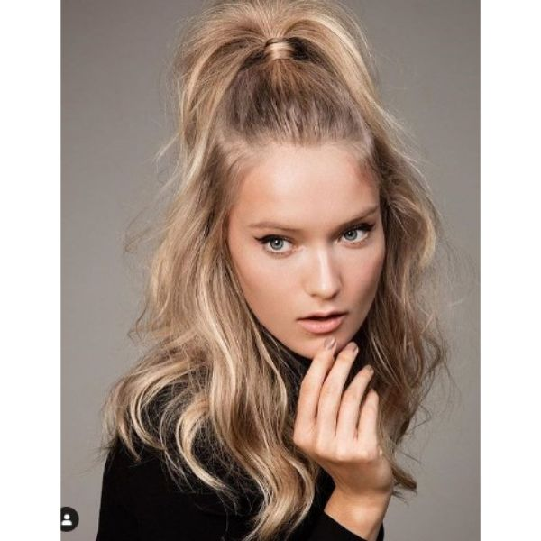 High Half-Ponytail Hairstyle For Blonde Hair