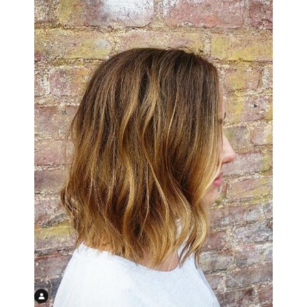 Honey Blonde Balayage For Long Straight Thin Hair With Subtle Waves
