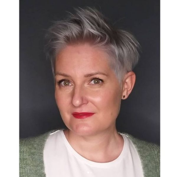 Ice-colored Messy Pixie Haircut With Side Part