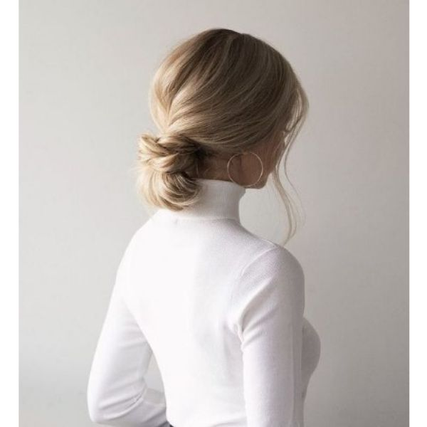 Knotted Bun Hairstyle For Blonde Hair