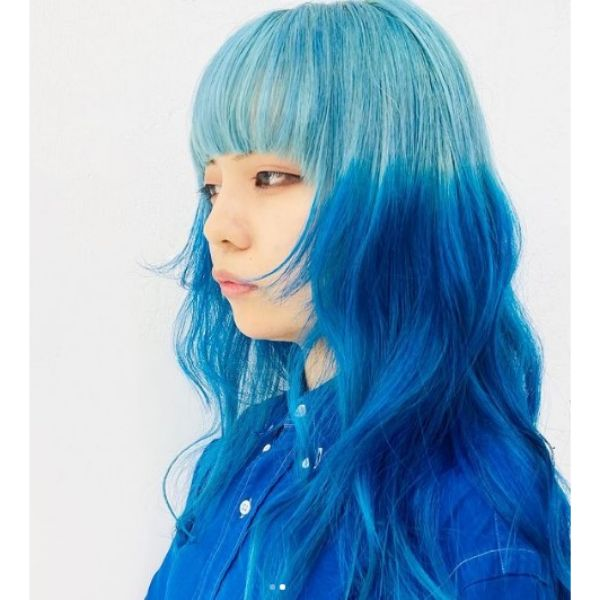 Layered Hairstyle For Blue Hair with Straight Bangs