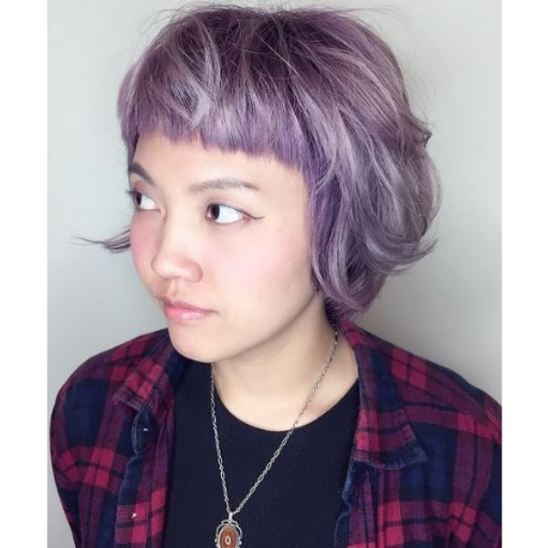 Lilac Colored Haircut For Oval Face With Baby Bangs