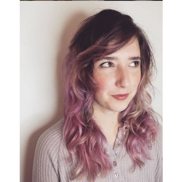 Liliac Pink Layered Haircut With Side-swept Bangs For Thin Hair