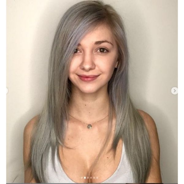 Long Layered Blonde Thin Hair With Subtle Blue Highlights