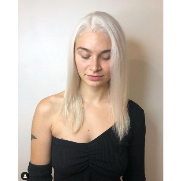 Long Straight Icy Blonde Haircut For Thin Hair