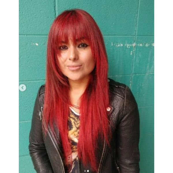 Long Straight Razor Shag For Bright Red Thin Hair