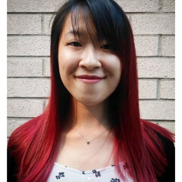 Long Straight Red Hair With Dark Bangs Hairstyle