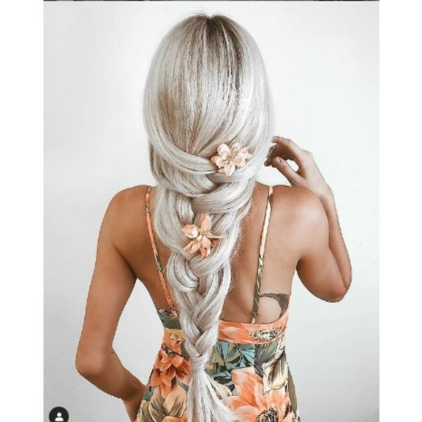 Loose Braid Tail With Orange Flowers