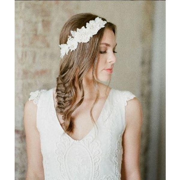 Loose Fishtail With Lace Headband And Falling Pieces For Medium Hair