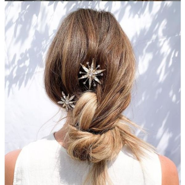 Loose Updo Wedding Hairstyle With Fishtail