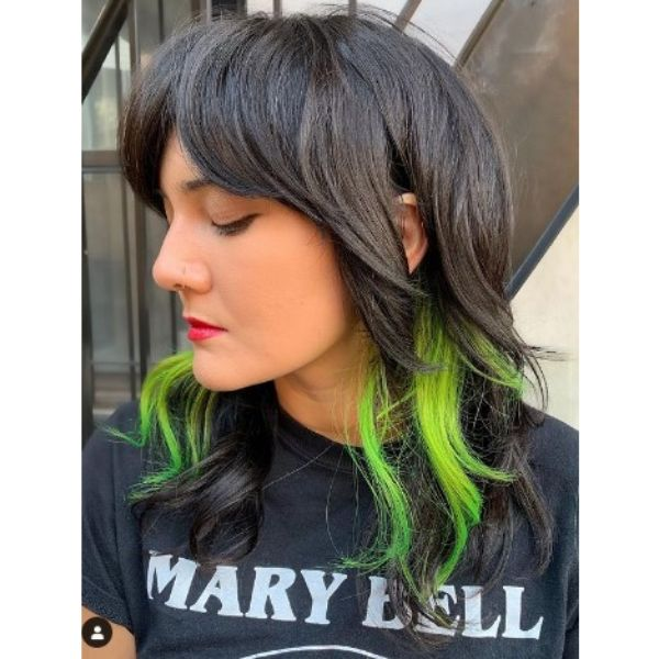 Medium Haircut With Neon Green Highlights And Subtle Waves