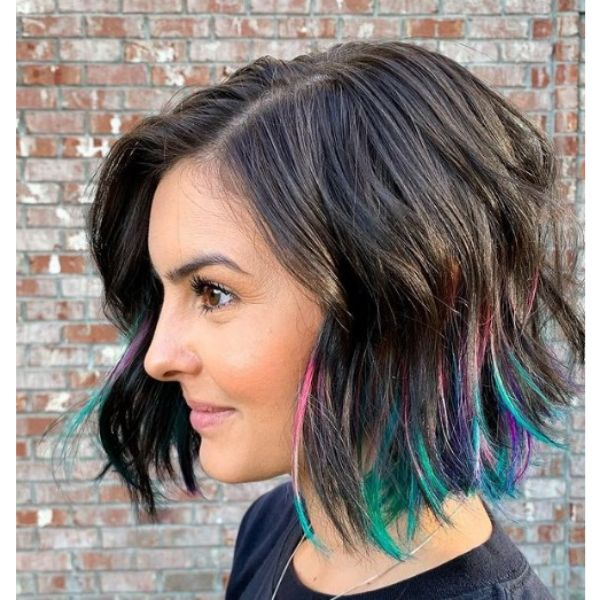 Medium Length Haircut For Wavy Hair with Multicolored Highlights