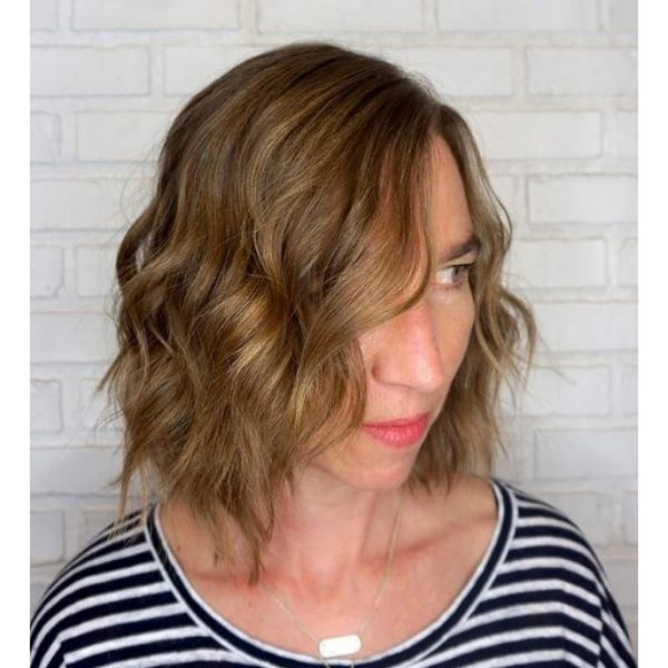 Medium Long Bob With Beach Waves