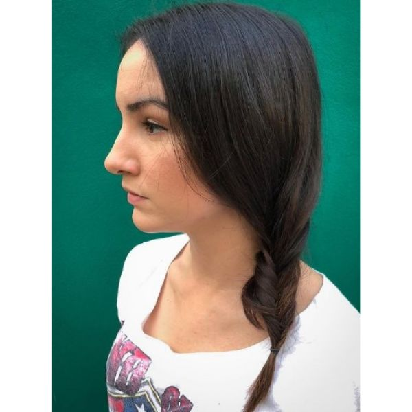Medium Long Straight Hair with Side Fishtail For Oval Face