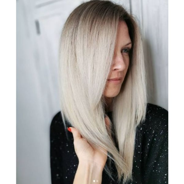 Medium Long V-shaped Hairstyles For Silver Blonde Hair