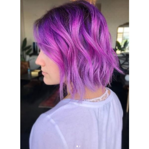 Medium Purple Haircut For Wavy Hair