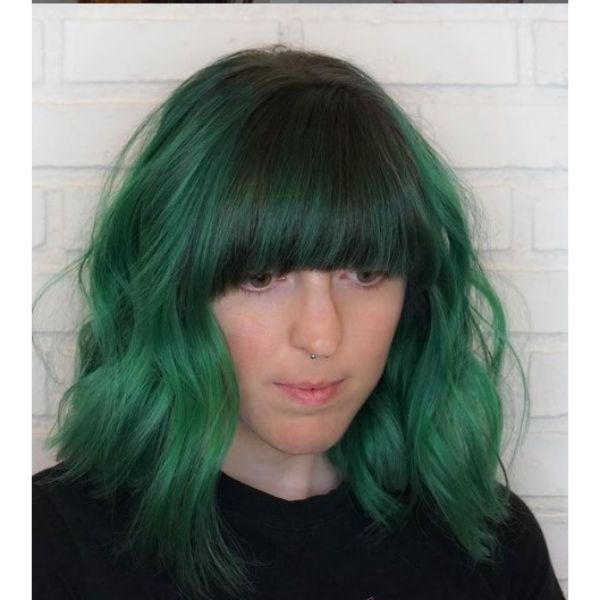 Mermaid Green Medium Haircuts For Wavy Hair with Thick Straight Bangs