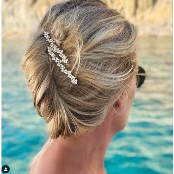 Messy Chic French Twist With Sparkling Hair Accessories For Blonde Thin Hair