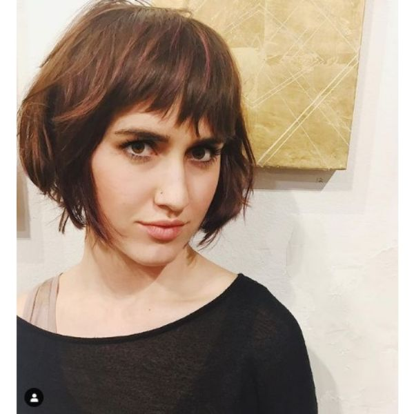 Messy French Bob With Crooked Fringe And Baby Lights