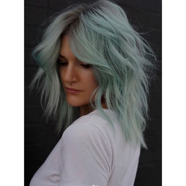 Mint Colored Medium Haircut For Wavy Hair With Undone Waves