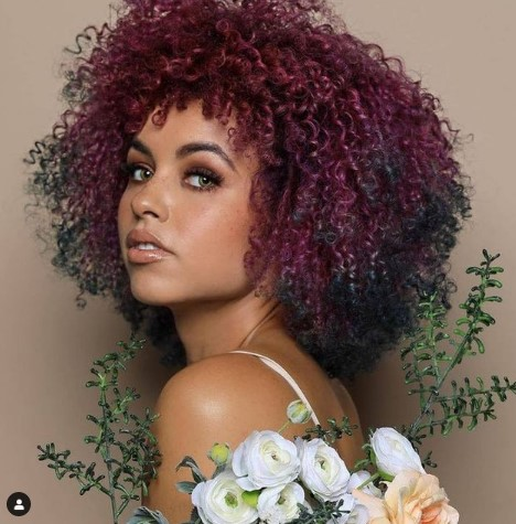 Multi Colored Haircut For Curly Hair