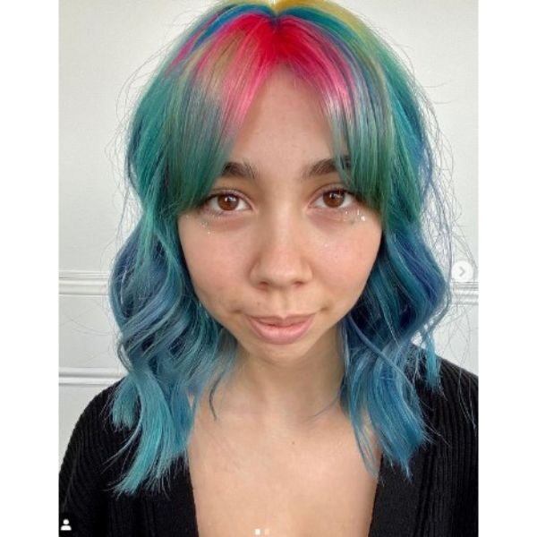 Neon Rainbow Medium Haircuts For Wavy Hair With Straight Bangs