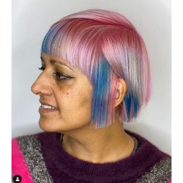 Pastel Colored Bob Hairstyle With Straight Bangs