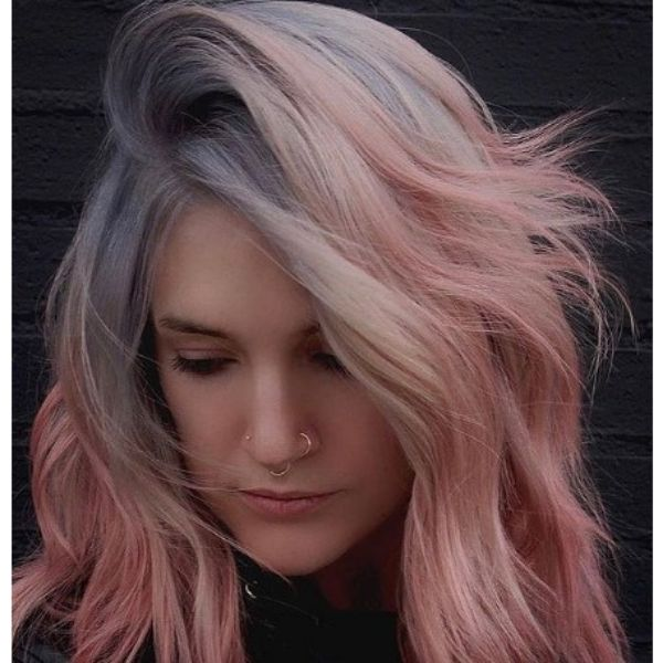 Pastel Colored Medium Haircut For Wavy Hair