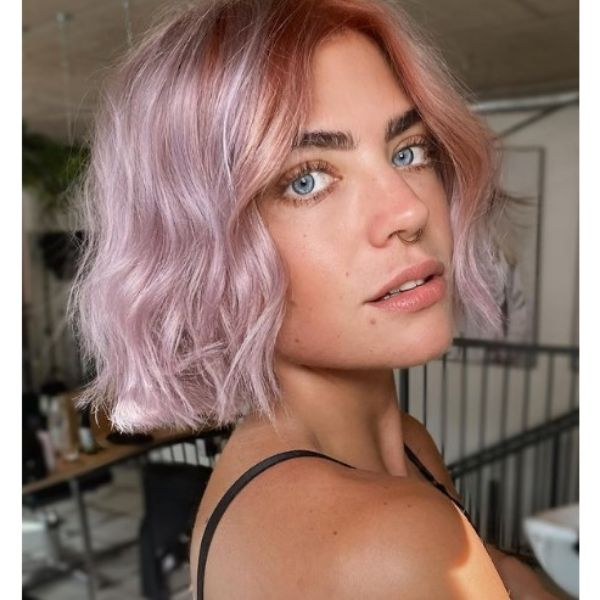 Pastel Pink And Orange Medium Bob For Wavy Hair