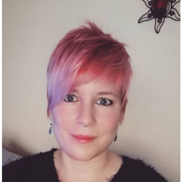 Pastel Pink Pixie For Thin Hair With Messy Top