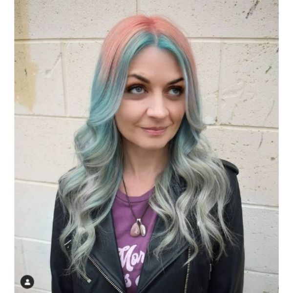 Peach To Blue Color Melt For Long Layered Thin Hair With Waves