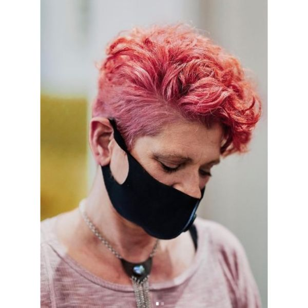 Pink Curly Pixie For Short Hair