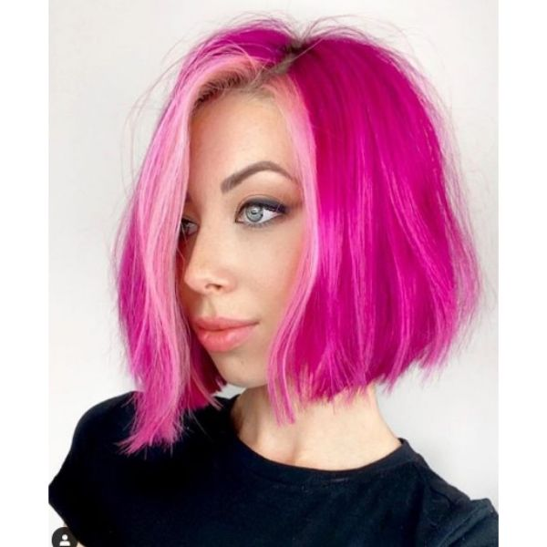 Pink Magenta Textured Bob With Side Part Haircut For Oval Face And Thin Hair