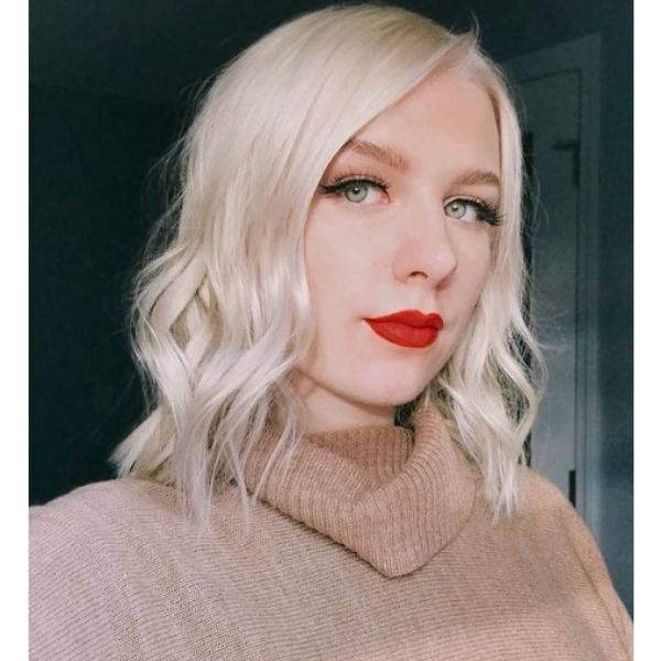 Platinum Blonde Lob With Side Part Hairstyle